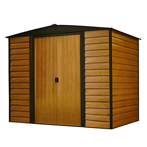 Arrow Galvanized Stained Wood Storage Shed
