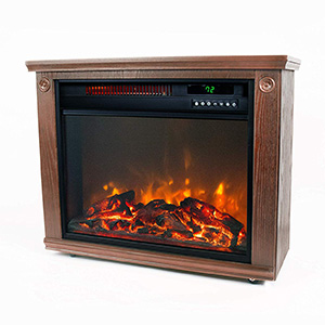 LifeSmart Large Room Infrared Quart Heater with Wood Finish